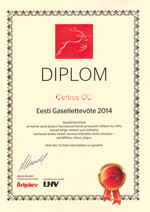 OÜ Cerbos has the diploma of the Estonian Gazelle Company 2014