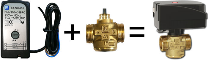 Actuator and 2-way zone valve