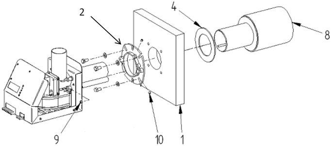 Kinnitage põleti flants (2) katla ukse(1) külge
