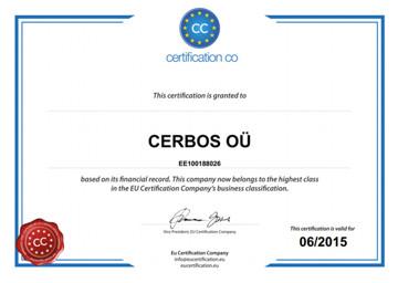 EU vastutustundlikkuse sertifikaat 2014 - 2015 OÜ Cerbos