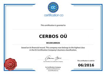 EU vastutustundlikkuse sertifikaat 2015 - 2016 OÜ Cerbos