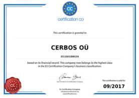 EU vastutustundlikkuse sertifikaat 2016 - 2017 OÜ Cerbos
