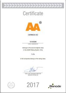 OÜ Cerbos credit rating certifiate 2017