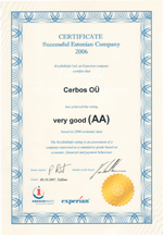Sertificate Successful Estonian Company 2006 - Cerbos OÜ