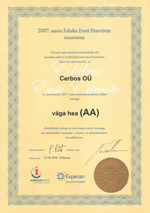 Sertificate Successful Estonian Company 2007 - Cerbos OÜ