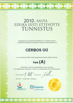 Sertificate Successful Estonian Company 2010 - Cerbos OÜ