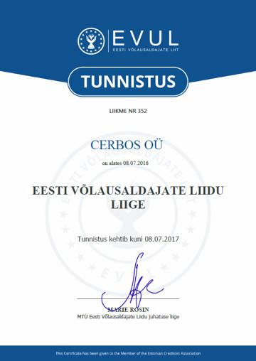 Cerbos OÜ Eesti Võlausaldajate Liidu liige