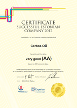 Sertificate Successful Estonian Company 2012 - Cerbos OÜ